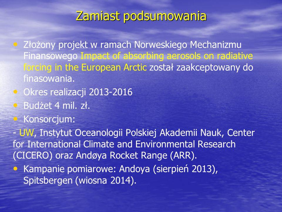 Zamiast podsumowania Złożony projekt w ramach Norweskiego Mechanizmu Finansowego Impact of absorbing aerosols on radiative forcing in the European Arc
