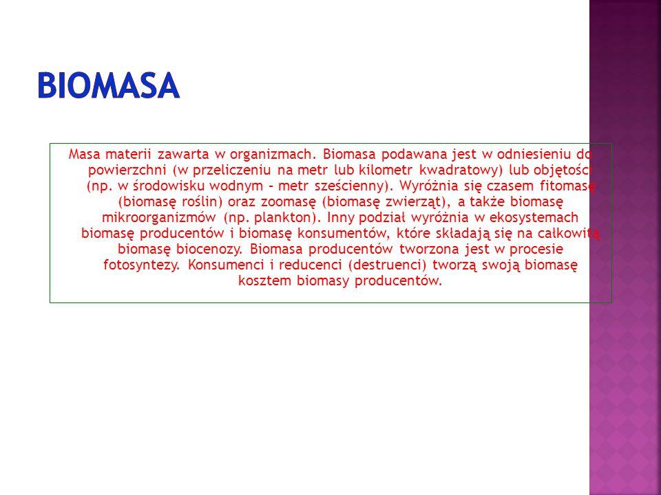 Masa materii zawarta w organizmach. Biomasa podawana jest w odniesieniu do powierzchni (w przeliczeniu na metr lub kilometr kwadratowy) lub objętości