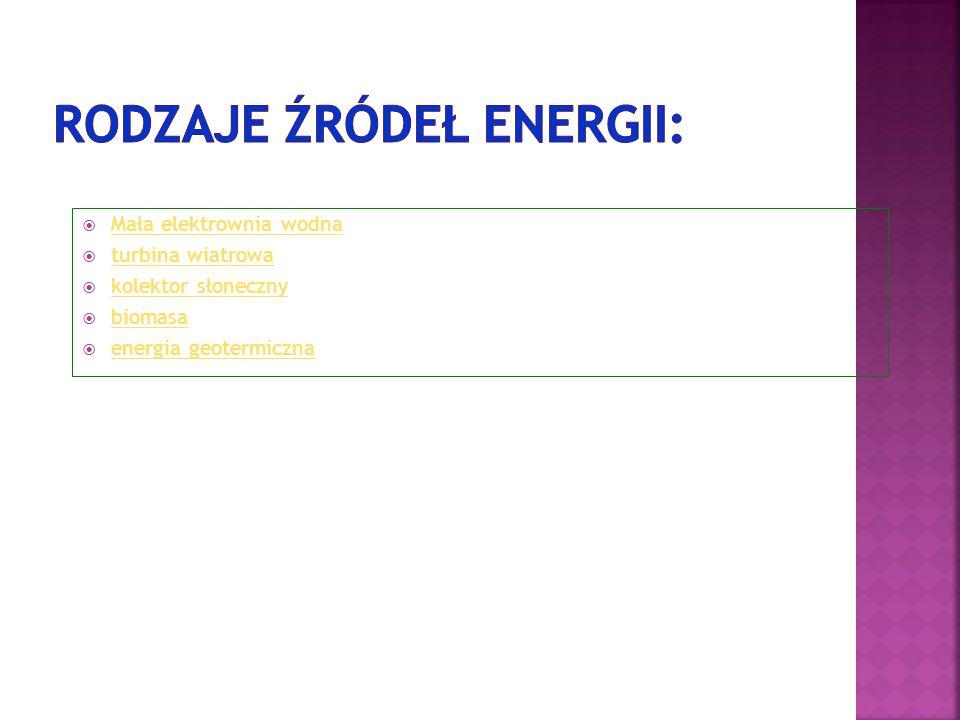 Mała elektrownia wodna Mała elektrownia wodna  turbina wiatrowa turbina wiatrowa  kolektor słoneczny kolektor słoneczny  biomasa biomasa  energi
