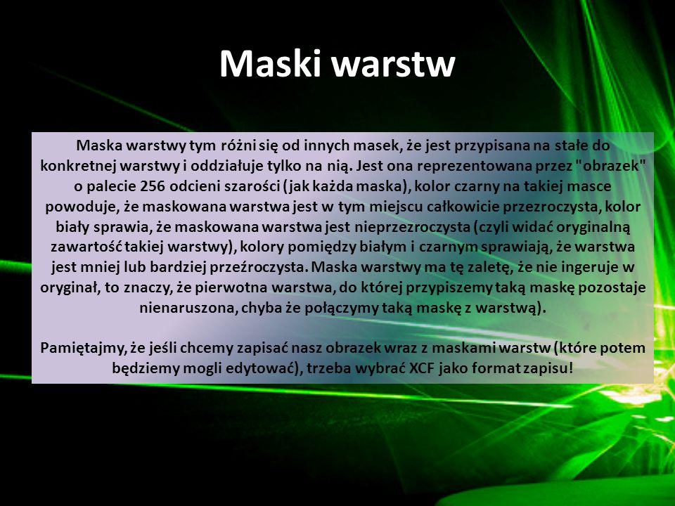 Maski warstw Maska warstwy tym różni się od innych masek, że jest przypisana na stałe do konkretnej warstwy i oddziałuje tylko na nią. Jest ona reprez