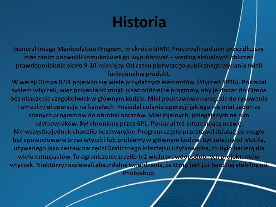 Historia General Image Manipulation Program, w skrócie GIMP. Pracowali nad nim przez dłuższy czas zanim pozwolili komukolwiek go wypróbować – według a