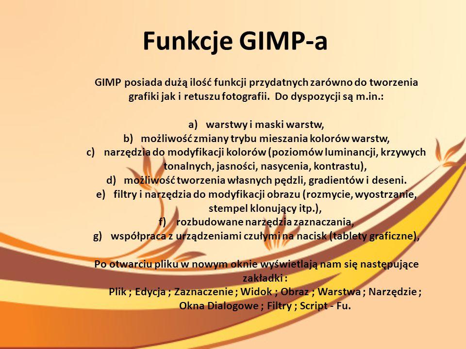 Funkcje GIMP-a GIMP posiada dużą ilość funkcji przydatnych zarówno do tworzenia grafiki jak i retuszu fotografii. Do dyspozycji są m.in.: a)warstwy i