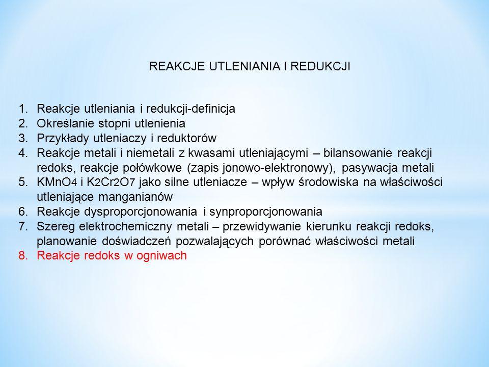 REAKCJE UTLENIANIA I REDUKCJI 1.Reakcje utleniania i redukcji-definicja 2.Określanie stopni utlenienia 3.Przykłady utleniaczy i reduktorów 4.Reakcje m