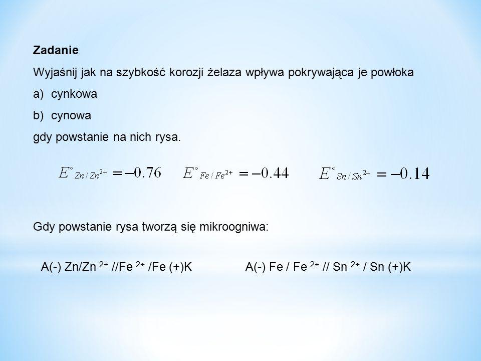 Zadanie Wyjaśnij jak na szybkość korozji żelaza wpływa pokrywająca je powłoka a)cynkowa b)cynowa gdy powstanie na nich rysa. Gdy powstanie rysa tworzą