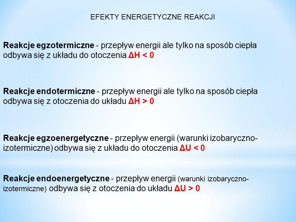 Reakcje egzotermiczne - przepływ energii ale tylko na sposób ciepła odbywa się z układu do otoczenia ΔH < 0 Reakcje endotermiczne - przepływ energii ale tylko na sposób ciepła odbywa się z otoczenia do układu ΔH > 0 Reakcje egzoenergetyczne - przepływ energii (warunki izobaryczno- izotermiczne) odbywa się z układu do otoczenia ΔU < 0 Reakcje endoenergetyczne - przepływ energii (warunki izobaryczno- izotermiczne) odbywa się z otoczenia do układu ΔU > 0 EFEKTY ENERGETYCZNE REAKCJI