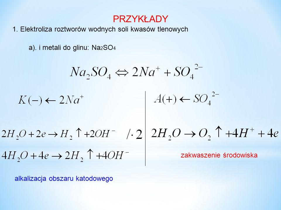 1. Elektroliza roztworów wodnych soli kwasów tlenowych PRZYKŁADY zakwaszenie środowiska a). i metali do glinu: Na 2 SO 4 alkalizacja obszaru katodoweg