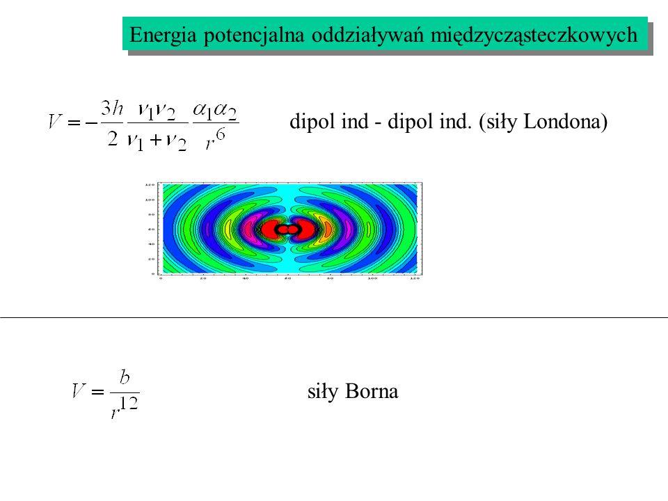 Energia potencjalna oddziaływań międzycząsteczkowych dipol ind - dipol ind. (siły Londona) siły Borna
