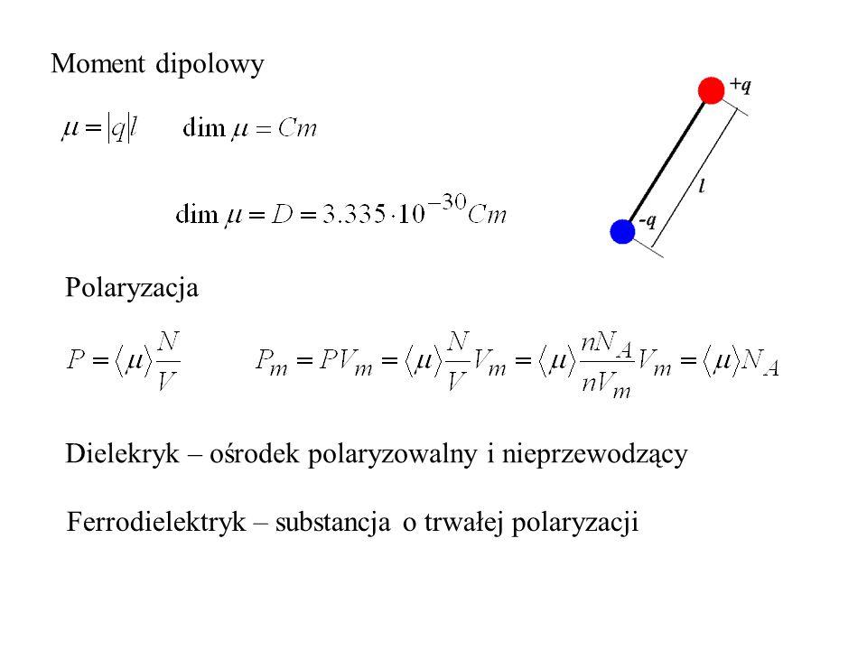 Polaryzacja Dielekryk – ośrodek polaryzowalny i nieprzewodzący Ferrodielektryk – substancja o trwałej polaryzacji