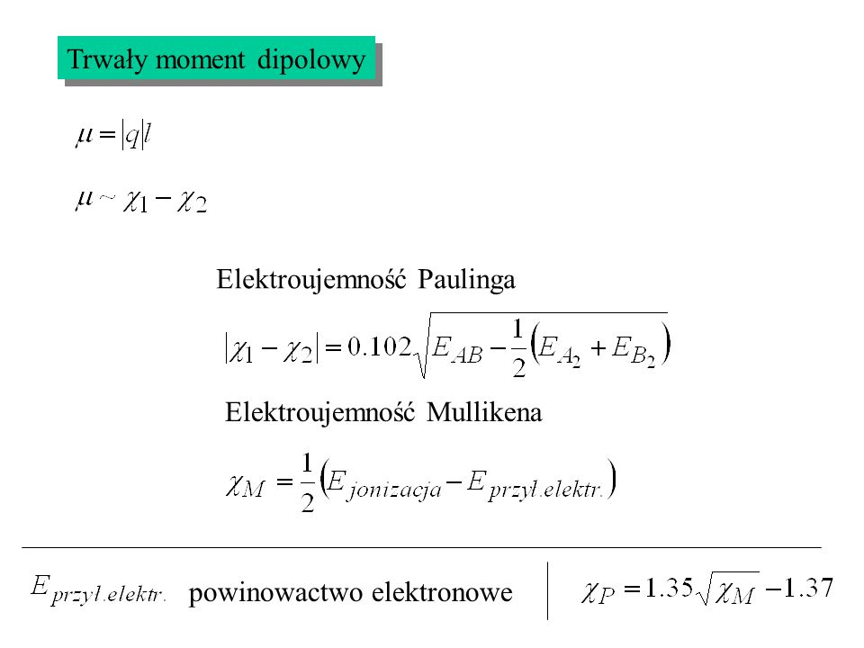 Trwały moment dipolowy Elektroujemność Paulinga Elektroujemność Mullikena powinowactwo elektronowe