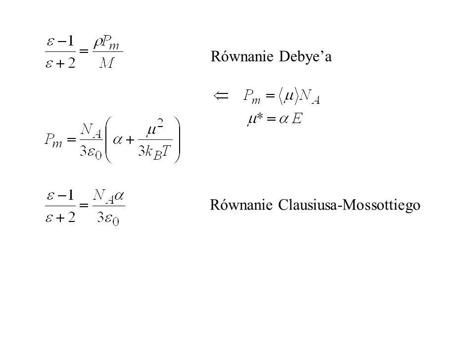 Równanie Debye'a Równanie Clausiusa-Mossottiego