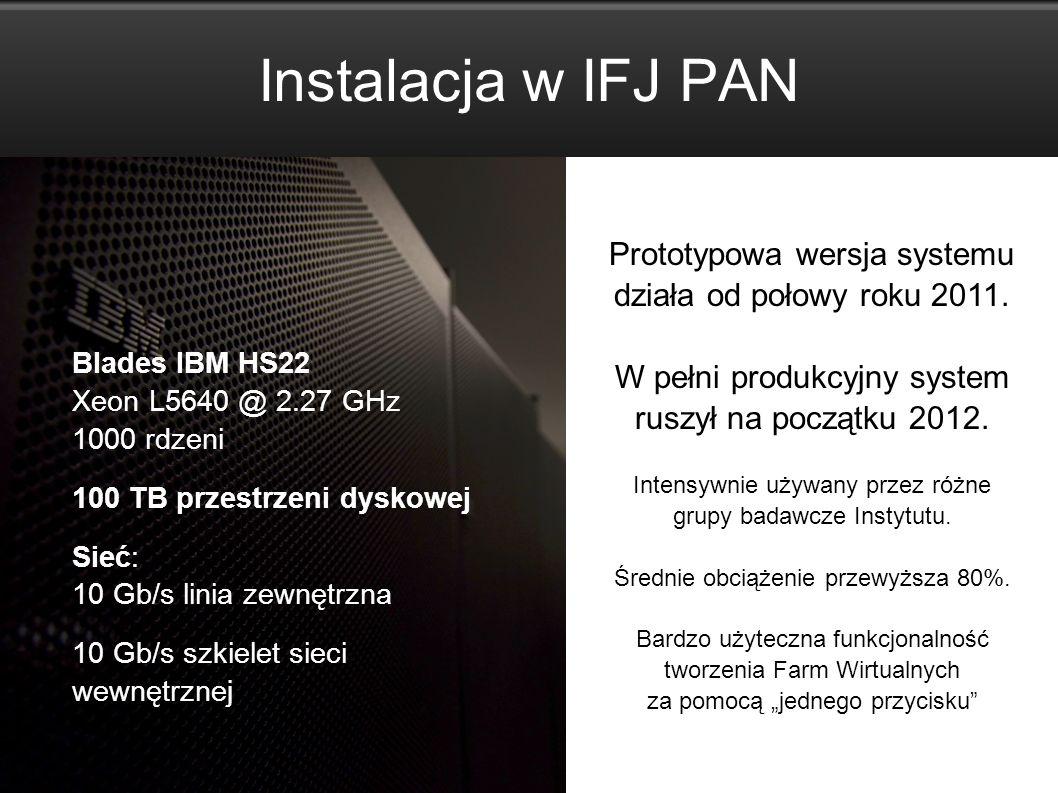 The CC1 system www.cc1.ifj.edu.pl 10 Instalacja w IFJ PAN Blades IBM HS22 Xeon L5640 @ 2.27 GHz 1000 rdzeni 100 TB przestrzeni dyskowej Sieć: 10 Gb/s