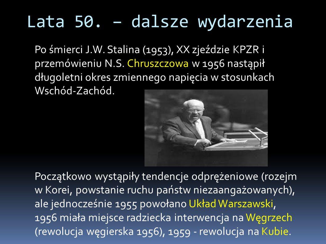 Po śmierci J.W. Stalina (1953), XX zjeździe KPZR i przemówieniu N.S. Chruszczowa w 1956 nastąpił długoletni okres zmiennego napięcia w stosunkach Wsch