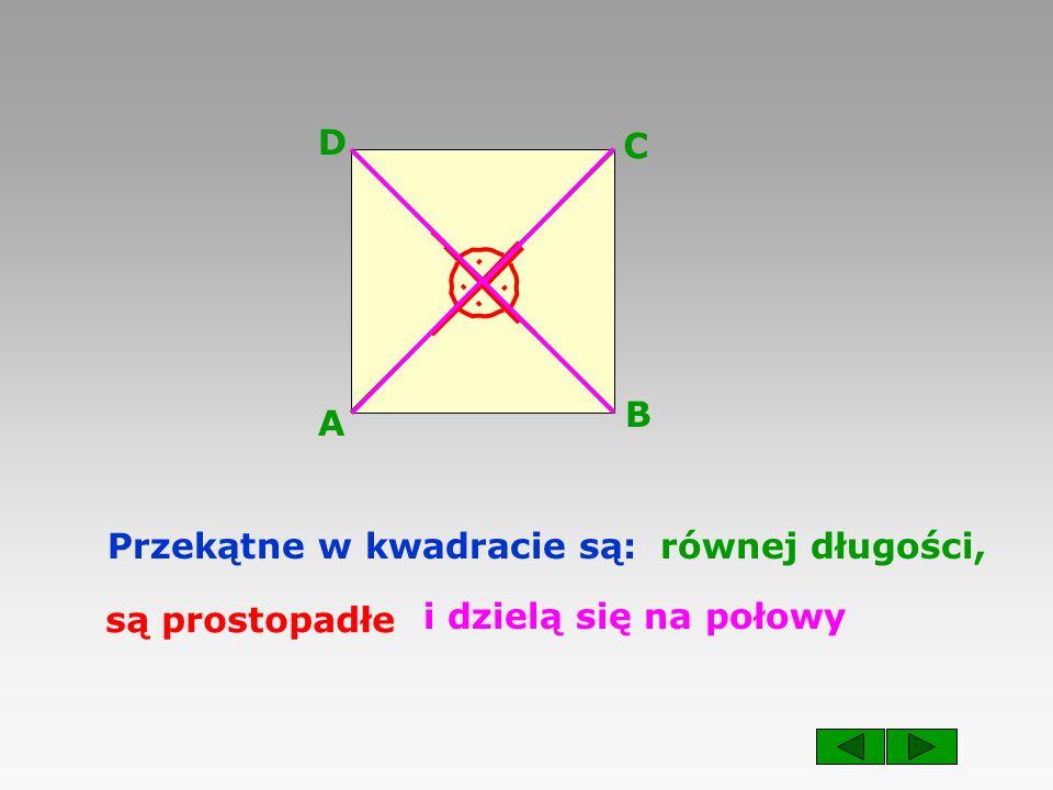 A B C D Przekątne w kwadracie są:.... równej długości, są prostopadłe i dzielą się na połowy