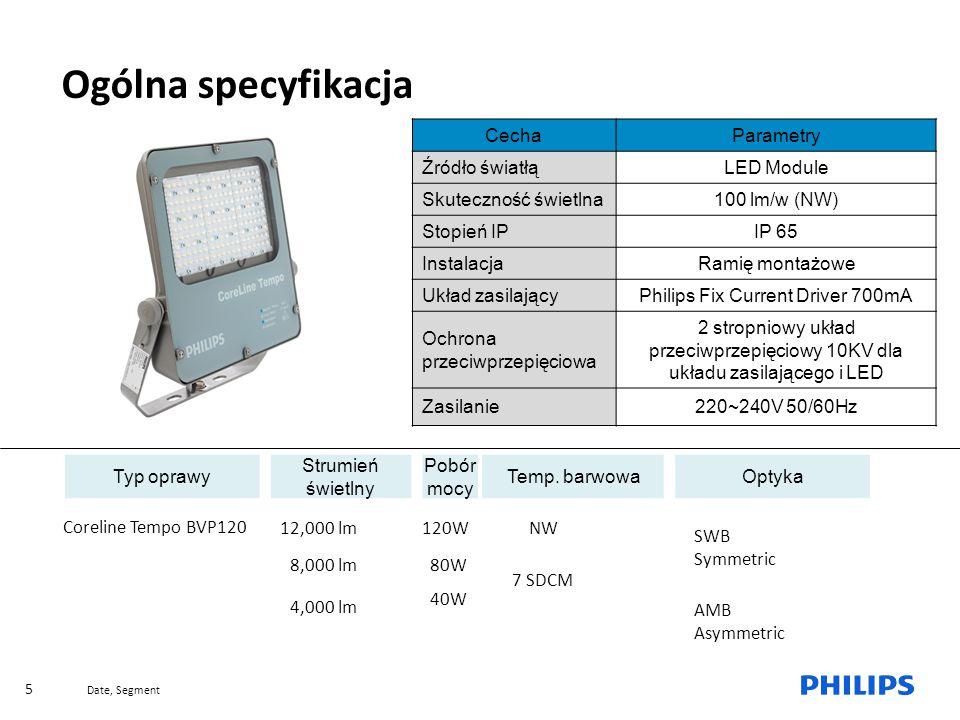 Date, Segment 5 Why a new MileWide range Ogólna specyfikacja CechaParametry Źródło światłąLED Module Skuteczność świetlna100 lm/w (NW) Stopień IPIP 65