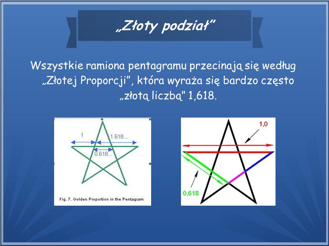 """""""Złoty podział"""" Wszystkie ramiona pentagramu przecinają się według """"Złotej Proporcji"""", która wyraża się bardzo często """"złotą liczbą"""" 1,618."""