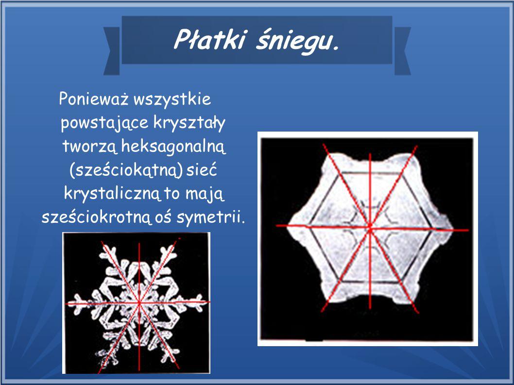 Płatki śniegu. Ponieważ wszystkie powstające kryształy tworzą heksagonalną (sześciokątną) sieć krystaliczną to mają sześciokrotną oś symetrii.