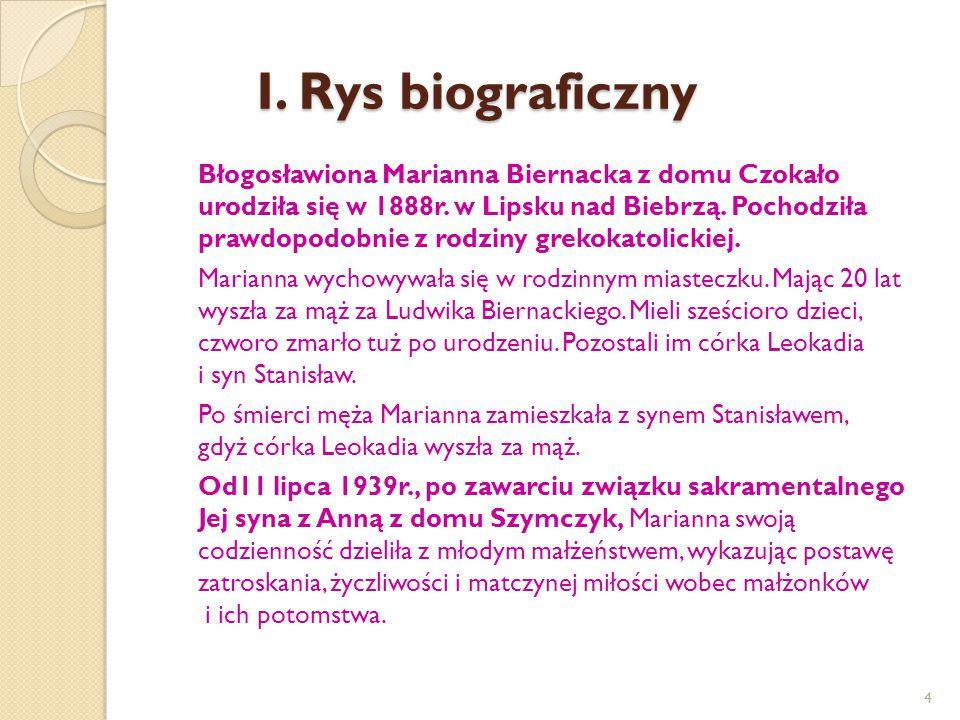 I. Rys biograficzny Błogosławiona Marianna Biernacka z domu Czokało urodziła się w 1888r. w Lipsku nad Biebrzą. Pochodziła prawdopodobnie z rodziny gr