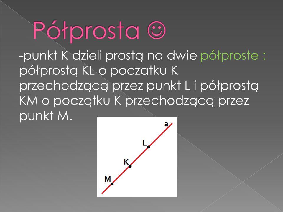-punkt K dzieli prostą na dwie półproste : półprostą KL o początku K przechodzącą przez punkt L i półprostą KM o początku K przechodzącą przez punkt M