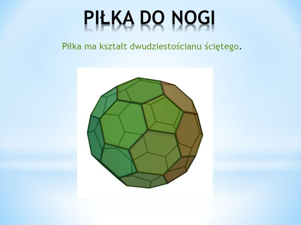 Piłka ma kształt dwudziestościanu ściętego.