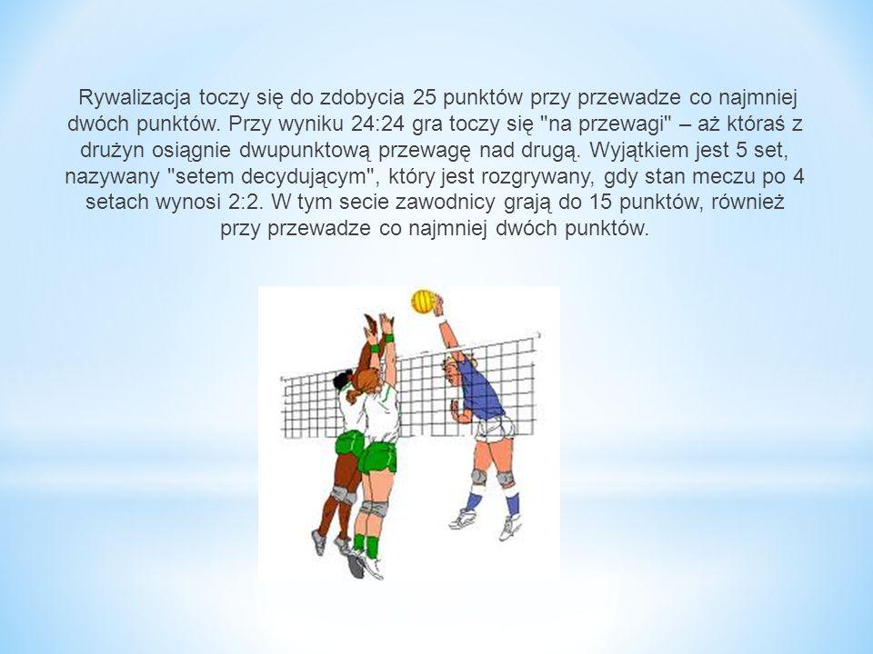 Rywalizacja toczy się do zdobycia 25 punktów przy przewadze co najmniej dwóch punktów. Przy wyniku 24:24 gra toczy się