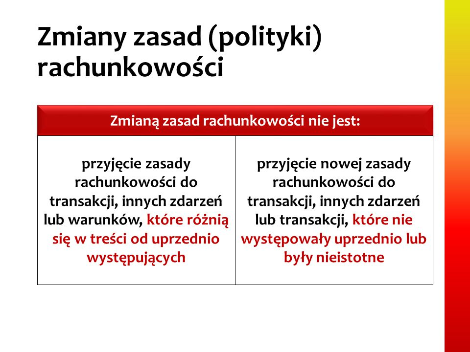 Zmiany zasad (polityki) rachunkowości Zmianą zasad rachunkowości nie jest: przyjęcie zasady rachunkowości do transakcji, innych zdarzeń lub warunków,