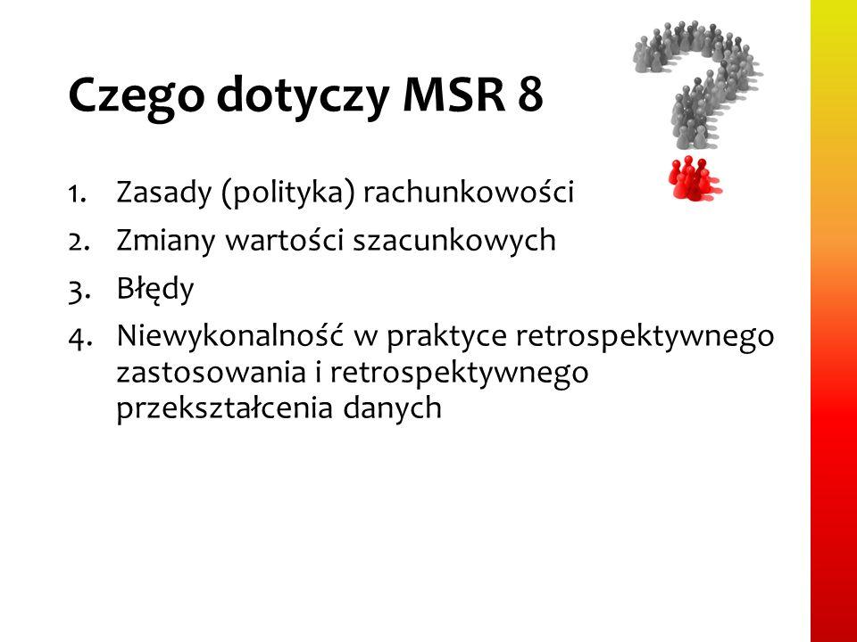 Czego dotyczy MSR 8 1.Zasady (polityka) rachunkowości 2.Zmiany wartości szacunkowych 3.Błędy 4.Niewykonalność w praktyce retrospektywnego zastosowania