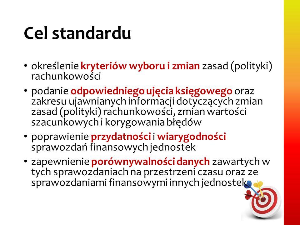 Cel standardu określenie kryteriów wyboru i zmian zasad (polityki) rachunkowości podanie odpowiedniego ujęcia księgowego oraz zakresu ujawnianych info