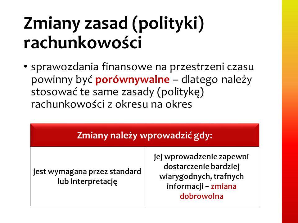 Zmiany zasad (polityki) rachunkowości sprawozdania finansowe na przestrzeni czasu powinny być porównywalne – dlatego należy stosować te same zasady (p