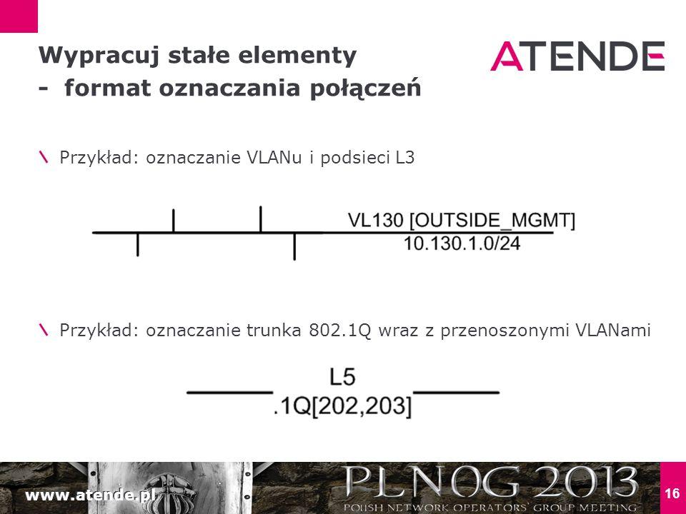 www.atende.pl 16 Przykład: oznaczanie VLANu i podsieci L3 Przykład: oznaczanie trunka 802.1Q wraz z przenoszonymi VLANami Wypracuj stałe elementy - fo