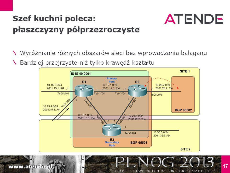 www.atende.pl 17 Wyróżnianie różnych obszarów sieci bez wprowadzania bałaganu Bardziej przejrzyste niż tylko krawędź kształtu Szef kuchni poleca: płas