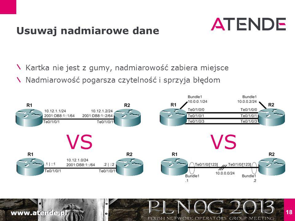 www.atende.pl 18 Kartka nie jest z gumy, nadmiarowość zabiera miejsce Nadmiarowość pogarsza czytelność i sprzyja błędom Usuwaj nadmiarowe dane VS