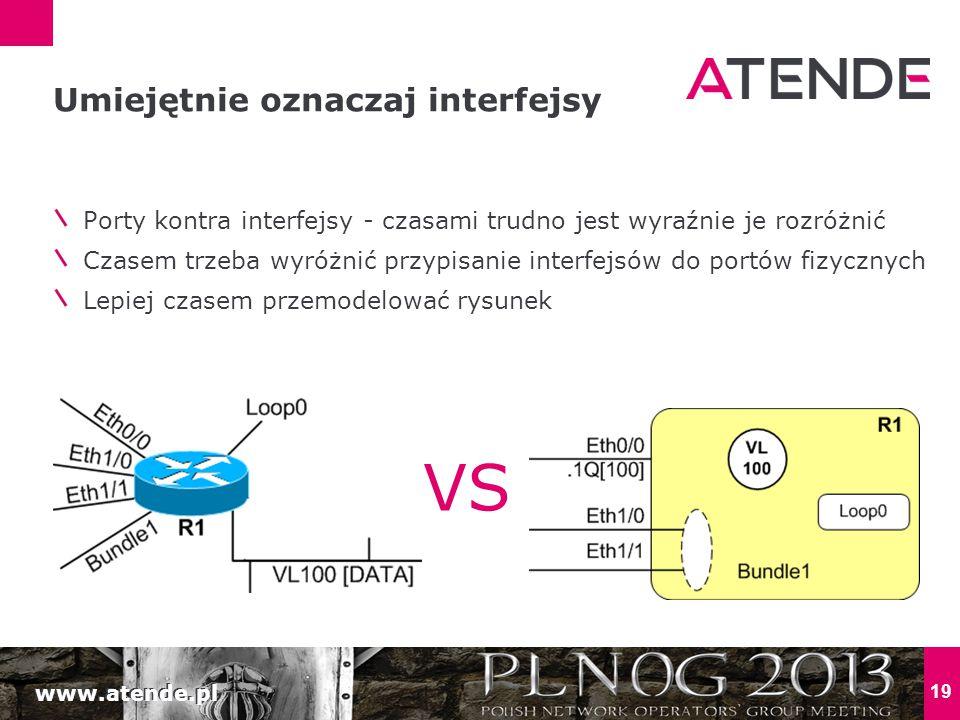 www.atende.pl 19 Porty kontra interfejsy - czasami trudno jest wyraźnie je rozróżnić Czasem trzeba wyróżnić przypisanie interfejsów do portów fizycznych Lepiej czasem przemodelować rysunek Umiejętnie oznaczaj interfejsy VS