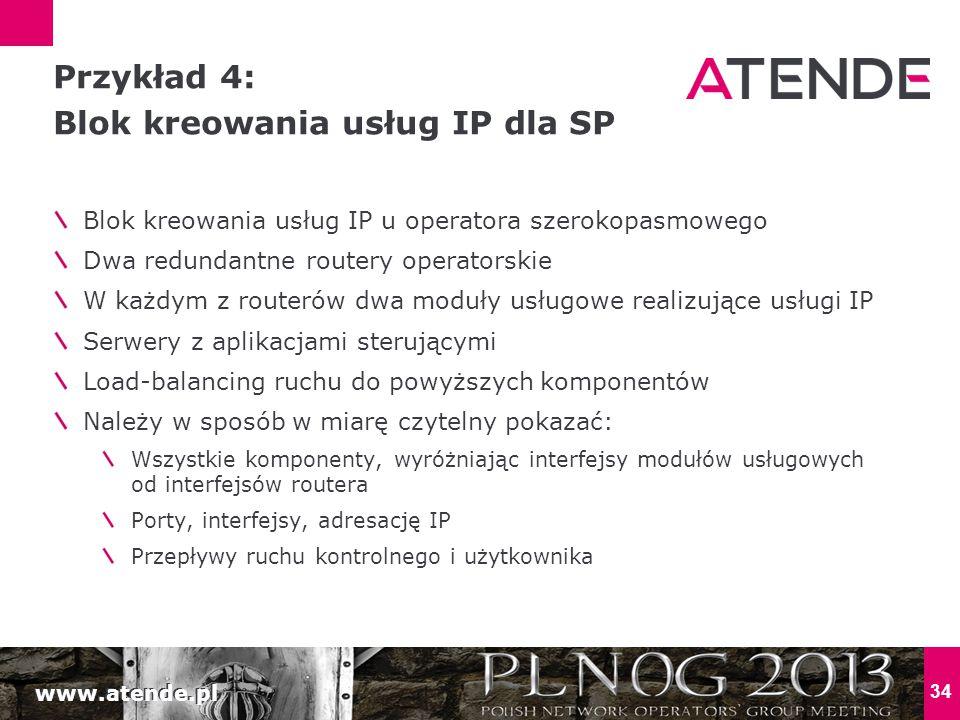www.atende.pl 34 Blok kreowania usług IP u operatora szerokopasmowego Dwa redundantne routery operatorskie W każdym z routerów dwa moduły usługowe rea