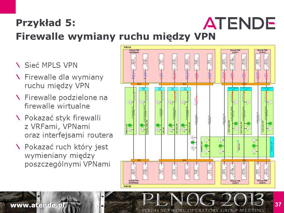 www.atende.pl 37 Sieć MPLS VPN Firewalle dla wymiany ruchu między VPN Firewalle podzielone na firewalle wirtualne Pokazać styk firewalli z VRFami, VPNami oraz interfejsami routera Pokazać ruch który jest wymieniany między poszczególnymi VPNami Przykład 5: Firewalle wymiany ruchu między VPN