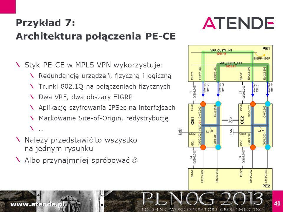 www.atende.pl 40 Styk PE-CE w MPLS VPN wykorzystuje: Redundancję urządzeń, fizyczną i logiczną Trunki 802.1Q na połączeniach fizycznych Dwa VRF, dwa obszary EIGRP Aplikację szyfrowania IPSec na interfejsach Markowanie Site-of-Origin, redystrybucję … Należy przedstawić to wszystko na jednym rysunku Albo przynajmniej spróbować Przykład 7: Architektura połączenia PE-CE