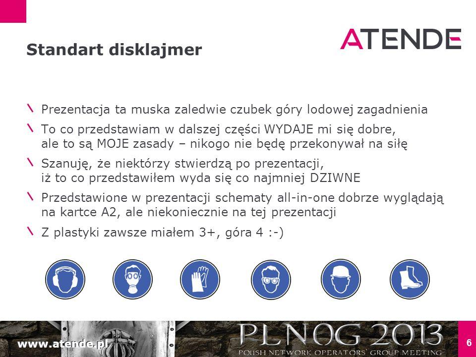 www.atende.pl 6 Prezentacja ta muska zaledwie czubek góry lodowej zagadnienia To co przedstawiam w dalszej części WYDAJE mi się dobre, ale to są MOJE