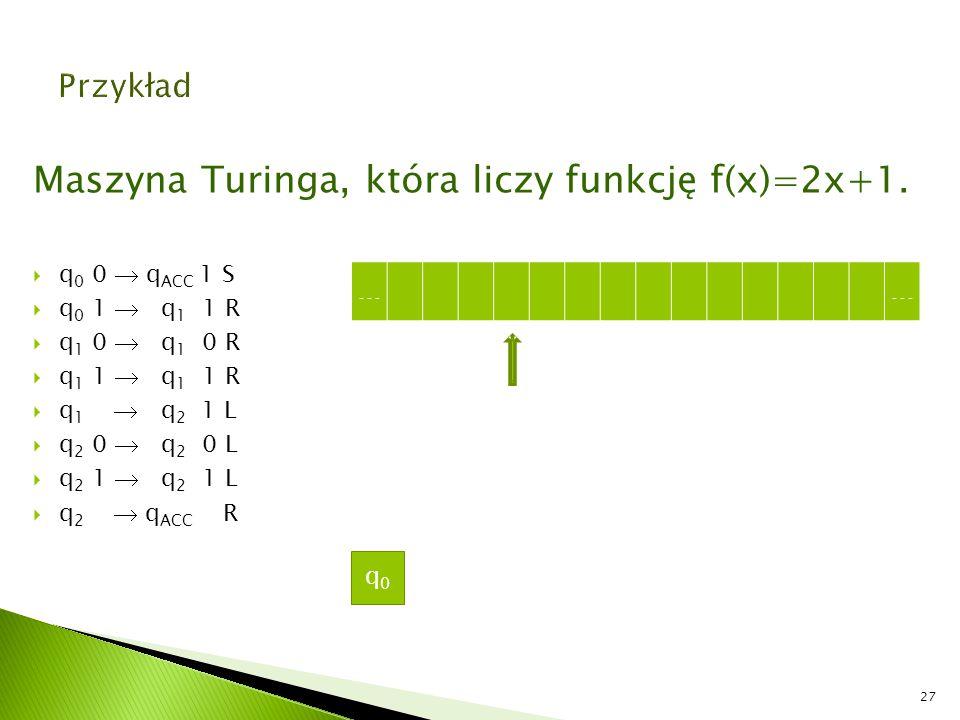 Maszyna Turinga, która liczy funkcję f(x)=2x+1.  q 0 0  q ACC 1 S  q 0 1  q 1 1 R  q 1 0  q 1 0 R  q 1 1  q 1 1 R  q 1  q 2 1 L  q 2 0  q