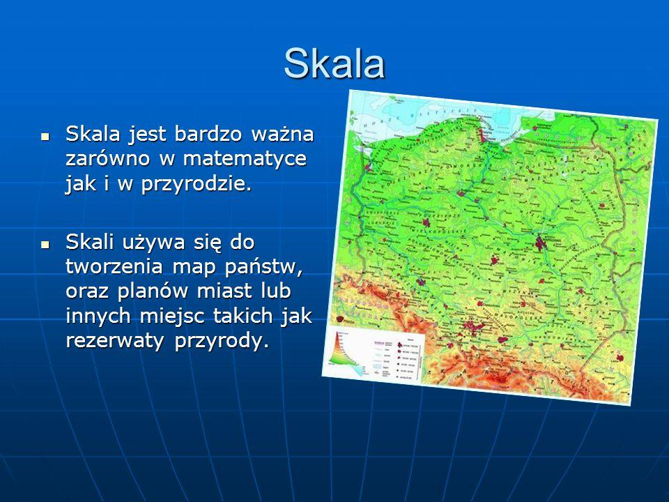 Skala Skala jest bardzo ważna zarówno w matematyce jak i w przyrodzie. Skala jest bardzo ważna zarówno w matematyce jak i w przyrodzie. Skali używa si