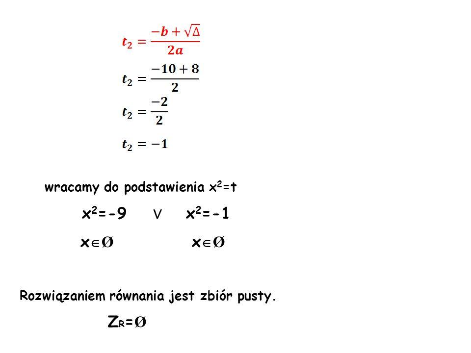 wracamy do podstawienia x 2 =t x 2 =-9 ∨ x 2 =-1 x  Ø x  Ø Rozwiązaniem równania jest zbiór pusty.