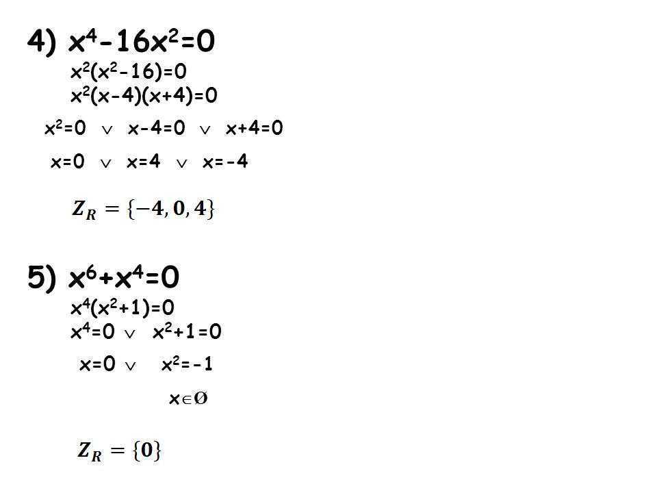 6) x 6 +6x 3 +9=0 (x 3 ) 2 +6x 3 +9=0 podstawiam x 3 =t t 2 +6t+9=0 a=1 b=6 c=9 Δ = b 2 -4ac Δ = 6 2 -4·1·9=36-36=0 Δ = 0 - wyznaczamy jedno miejsce zerowe wracamy do podstawienia x 3 =t x 3 =-3
