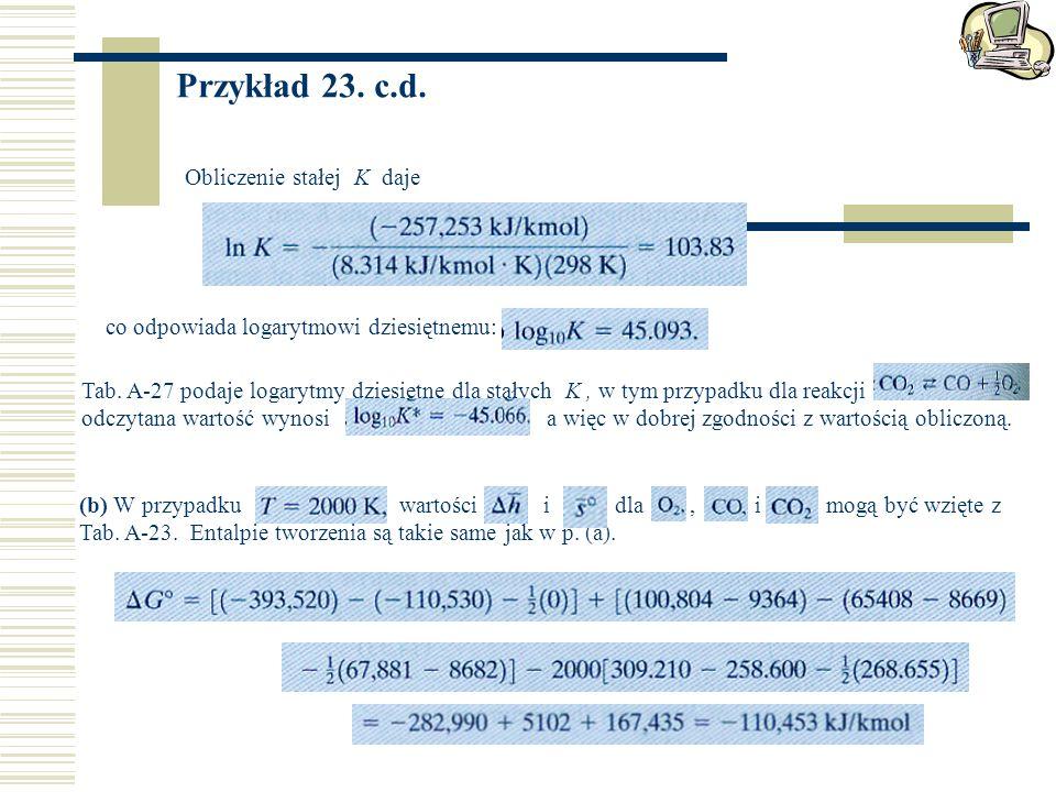 Przykład 23. c.d. Obliczenie stałej K daje co odpowiada logarytmowi dziesiętnemu: Tab. A-27 podaje logarytmy dziesiętne dla stałych K, w tym przypadku