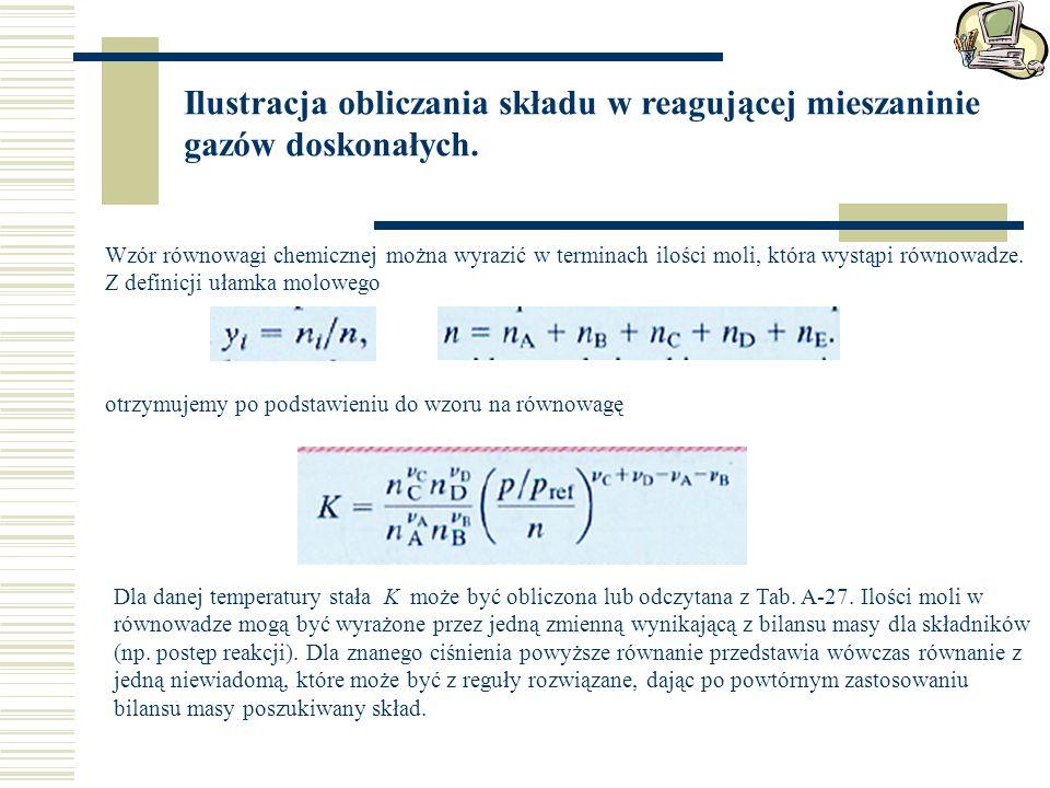 Ilustracja obliczania składu w reagującej mieszaninie gazów doskonałych. Wzór równowagi chemicznej można wyrazić w terminach ilości moli, która wystąp