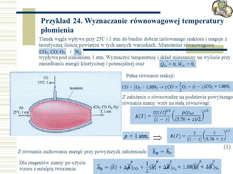 Przykład 24. Wyznaczanie równowagowej temperatury płomienia Tlenek węgla wpływa przy 25C i 1 atm do bardzo dobrze izolowanego reaktora i reaguje z teo