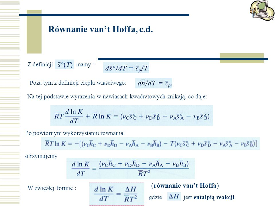 Równanie van't Hoffa, c.d.