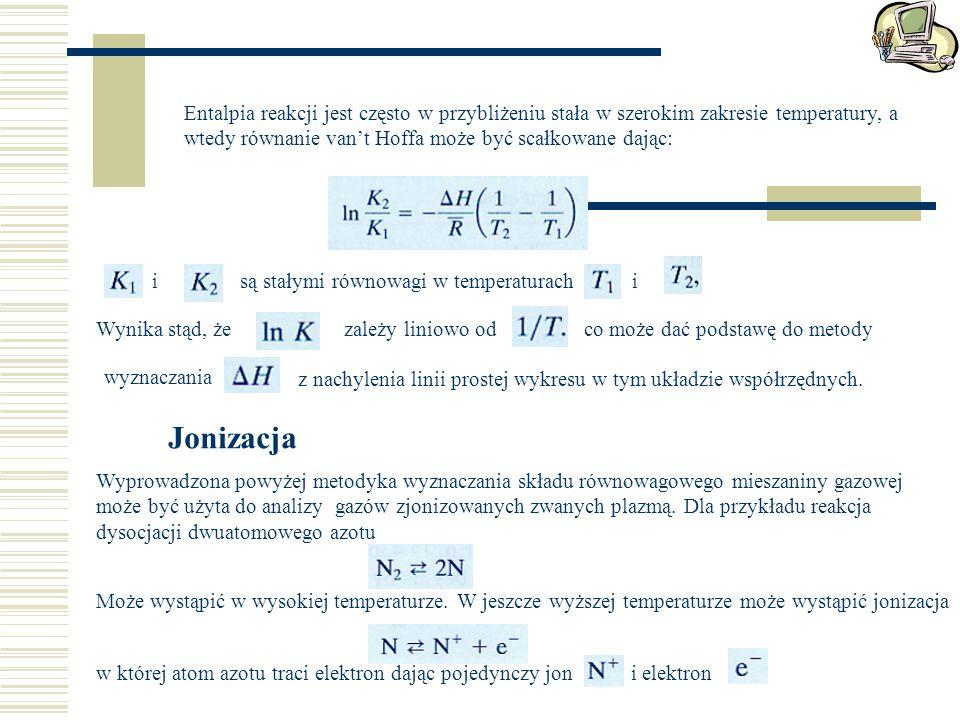 Entalpia reakcji jest często w przybliżeniu stała w szerokim zakresie temperatury, a wtedy równanie van't Hoffa może być scałkowane dając: isą stałymi równowagi w temperaturachi Wynika stąd, żezależy liniowo odco może dać podstawę do metody wyznaczania z nachylenia linii prostej wykresu w tym układzie współrzędnych.