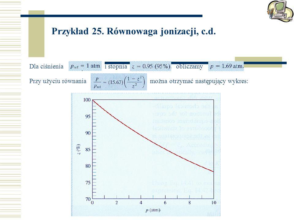 Przykład 25.Równowaga jonizacji, c.d.