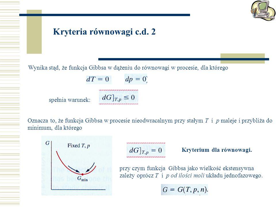 Wynika stąd, że funkcja Gibbsa w dążeniu do równowagi w procesie, dla którego Kryteria równowagi c.d.
