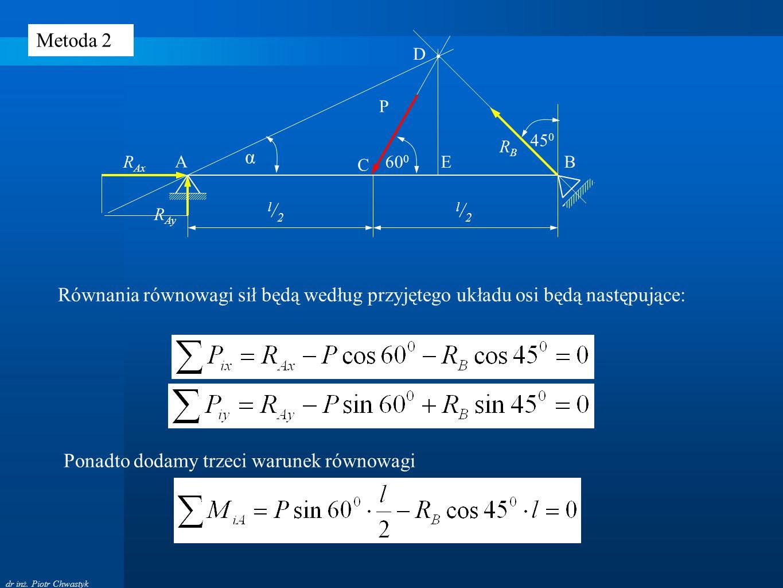 dr inż. Piotr Chwastyk A B P C l/2l/2 l/2l/2 60 0 45 0 RBRB R Ax R Ay D E α Równania równowagi sił będą według przyjętego układu osi będą następujące:
