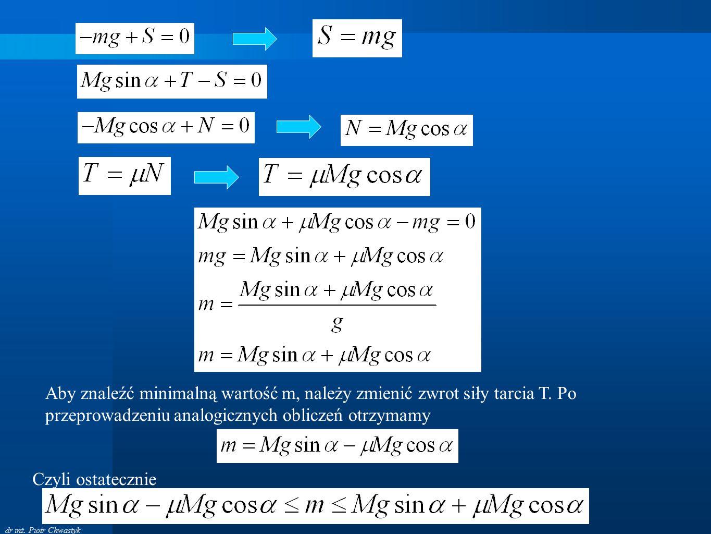 dr inż. Piotr Chwastyk Aby znaleźć minimalną wartość m, należy zmienić zwrot siły tarcia T. Po przeprowadzeniu analogicznych obliczeń otrzymamy Czyli