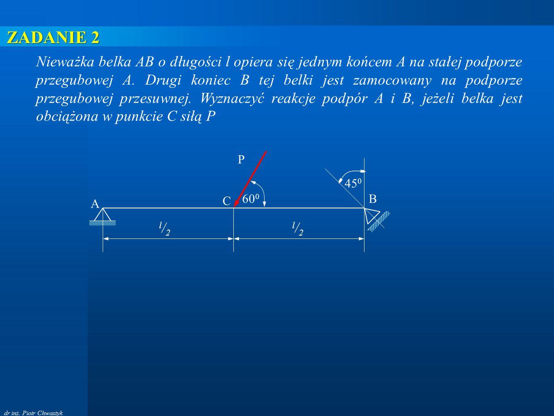 dr inż. Piotr Chwastyk A B P C l/2l/2 l/2l/2 60 0 45 0 Nieważka belka AB o długości l opiera się jednym końcem A na stałej podporze przegubowej A. Dru